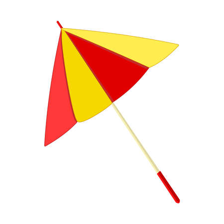 Umbrella isolated on white background. Parasol icon. Yellow and red sunshade for beach. Cocktail umbrella. Symbol of holiday by the sea. Stock vector illustration