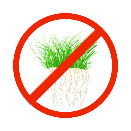 Weed control sign isolated on white background. Grass in round ban icon. Garden protection and maintenance. Weed removal equipment label. Stock vector illustration