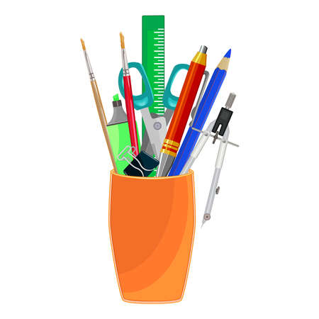 Pencils holder with school stationery isolated on white background. Back to school concept. Office, education and home supply stationery in plastic cup. Desktop organizer. Stock vector illustration
