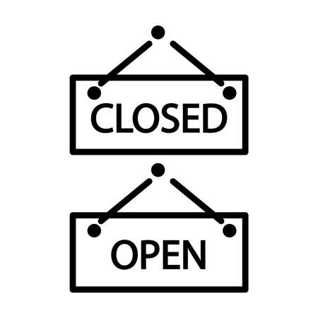 Closed and open sign isolated on white background. Outline flat design style. Open and closed signboard symbol pictogram. Nameplate icon for shop, cafe or office. Stock vector illustration