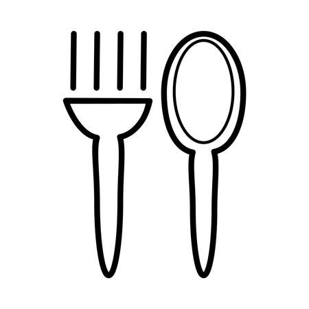 Fork and spoon icon isolated on white background. Restaurant or cafe symbol or logo. Simple minimal outline design style. Menu sign. Dinner linear pictogram. Stock vector illustration Çizim
