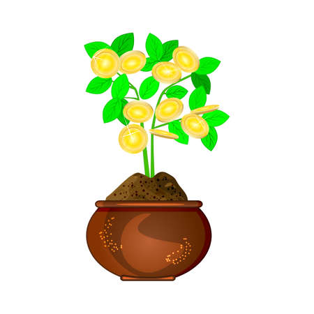 Money tree isolated on white background. Business and finance icon. Savings concept of a money tree with growing gold coins. Symbol of success, wealth and power. Stock vector illustration