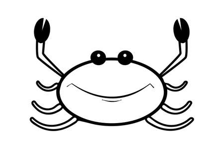 Crab icon isolated on white background. Cancer sign. Lobster contour silhouette. Seafood shop, food packaging or restaurant design. Simple line design style.  Stock vector illustration