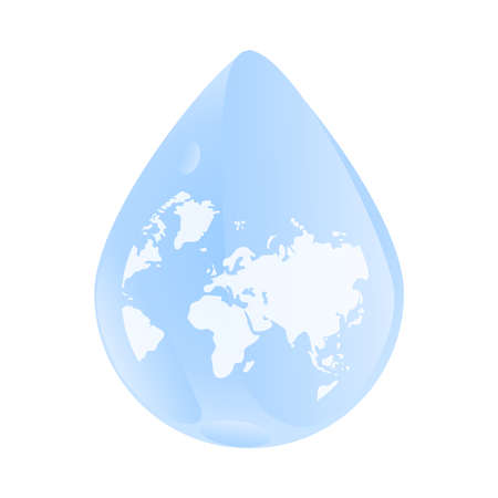 World map inside water drop isolated on white background. Water or rain drop droplet with a world earth globe. Concept of water resources. World water day. Save and protect water. Stock vector illustration Çizim