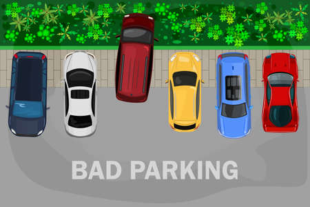 Bad parking. Vehicle parked inappropriate way on lawn pavement. Top view of car parked on the lawn with trees. Parking zone banner. Violation of traffic rules, parking on grass. Stock vector illustration