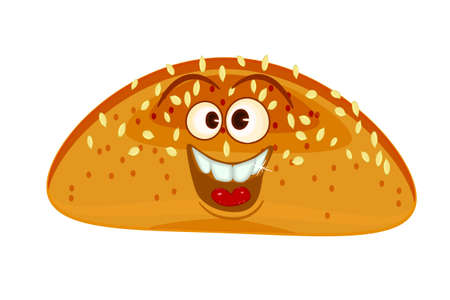 Bread loaf mascot. isolated on white background. Fun bread. Bakery and pastry cartoon label personage. Funky food character with eyes and mouth. Bun with a happy expression. Stock vector illustration