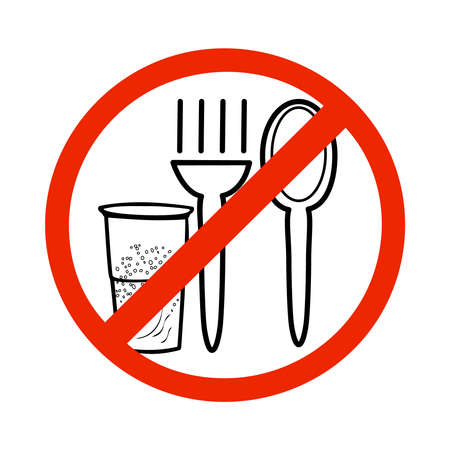 No eating sign isolated on white background. Not allowed to eat and drink icon. No food symbol. Fork, spoon and glass in crossed red circle. Simple flat sign design. Common public sign regarding prohibition for eat. Stock vector illustration