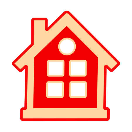 Home icon isolated on white background. Red house symbol. Simple flat design style. Residential building pictogram. Real estate or sale concept. For construction company or interior design studio. Stock vector illustration Çizim