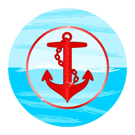 Anchor emblem with circular frame isolated on white background. Red anchor silhouette in blue circle background. Round nautical sign, symbol or icon. Marine logotype template. Stock vector illustration