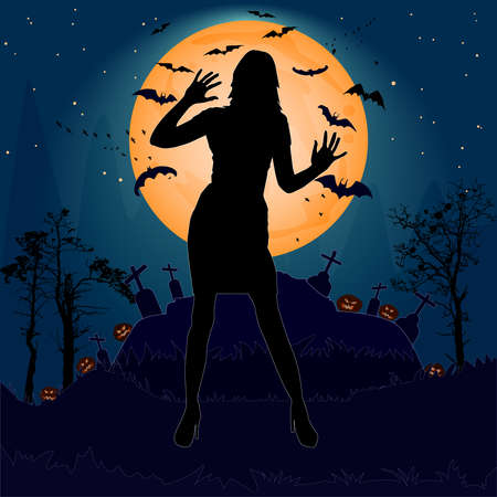 Halloween night background with woman silhouette, creepy castle, moon, cemetery cross, bats and pumpkins. Orange moonlight with woman ghost. Happy halloween poster. Stock vector illustration Çizim