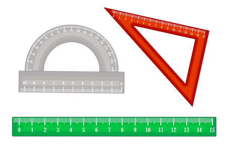 Set of rulers isolated on white background. Collection of measuring tools, ruler, triangle, protractor.  Rulers with metric mm grade. School instruments or supplies. Engineer equipment. Stock vector illustration