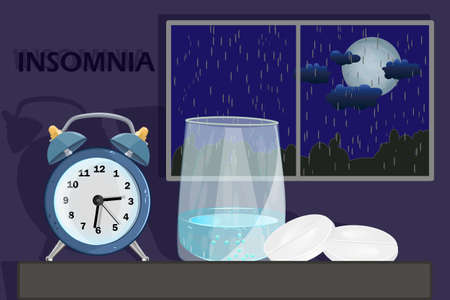 Sleep disorder or insomnia concept. Clock, glass with water and pill on dark blue sky background with rain and moon at night. Millennial medical problem, insomnia and depression treatment. Stock vector illustration