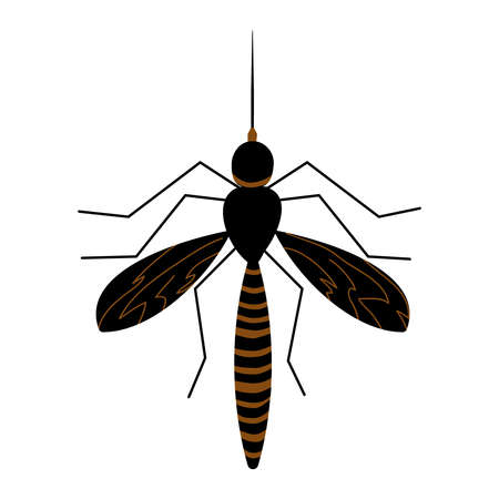 Mosquito isolated on white background. Gnat simple flat icon, symbol or sign. Mosquito silhouette design top view. Cartoon insect pest pictogram. Pest control, extermination, removal services. Stock vector illustration Çizim