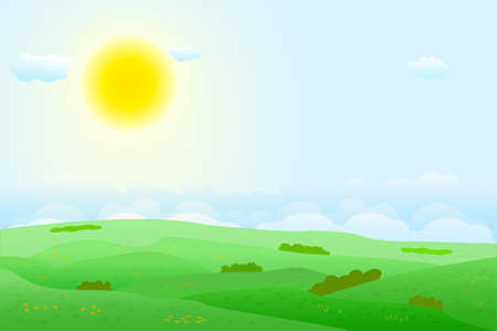 Summer fields landscape with green hills, bright color blue sky, sun and clouds. Lovely rural nature. Countryside view. Valley scenery. Agricultural land. Stock vector illustration