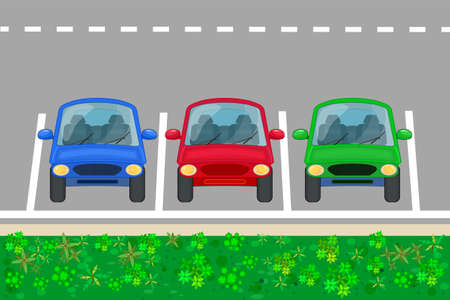 Car parking zone. Parking lot with three cars front view. Place for vehicles with marking on road. Free or pay public parking area. City transportation services. Road with outdoor auto park and vehicles. Stock vector illustration Çizim