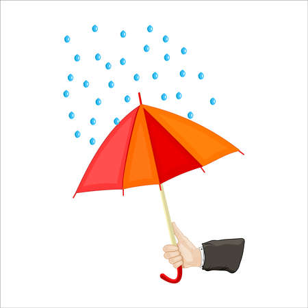 Hand holding umbrella isolated on white background. Human hand holding open red and yellow parasol with raindrops. Abstract rainy weather design. Protection or insurance concept. Stock vector illustration Çizim