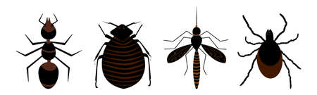 Harmful insects set icon isolated on white background. Signs and symbols of pests, tick, ant, fleas and mosquito. Insect repellent or pest control, extermination, removal services. Stock vector illustration