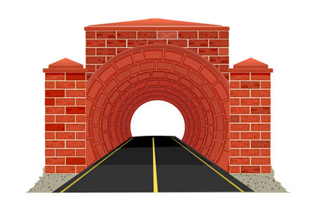 Tunnel road isolated on white background. Mountain highway tunnel icon for travel design. Entrance to car freeway tunnel. Underground motorway. Stock vector illustration Çizim