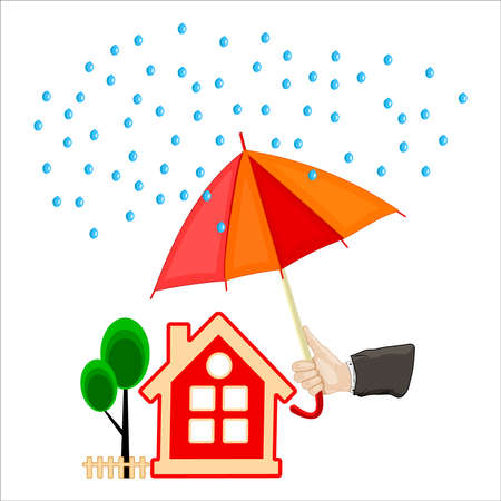 Hand holding an umbrella protecting house isolated on white background. Concept of security of property or insurance home.  Agent hand holding parasol under rain over house. Guarded real estate.Vector Çizim