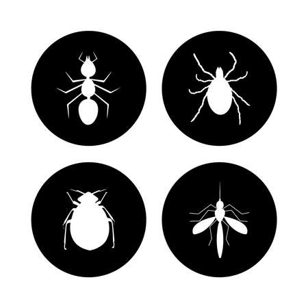 Harmful insects set icon isolated on white background. Tick, ant, flea and mosquito inside black circle sign. White silhouette pests in black round. Pest control label. Flat style design. Stock vector illustration