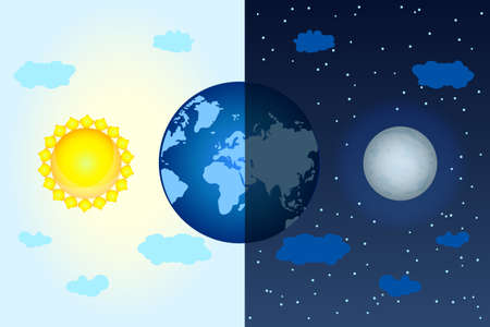 Equinox concept with dark and shine planet, sun and moon. Vernal or autumnal equinox day. Day and night design. Earth seasons. Annual seasonal. International Astrology Day. Stock vector illustration
