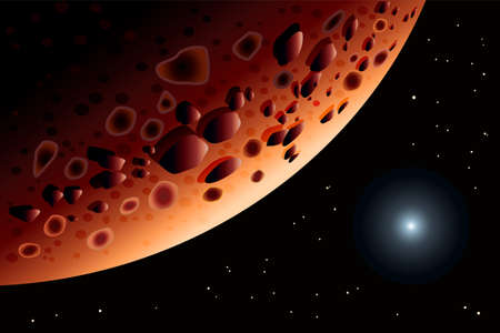 Mars. Solar system planet. Big red planet landscape. Abstract scientific background. Space decoration design. Planet Mars and bright star in space. Glowing planet in starlight. Stock vector illustration Çizim