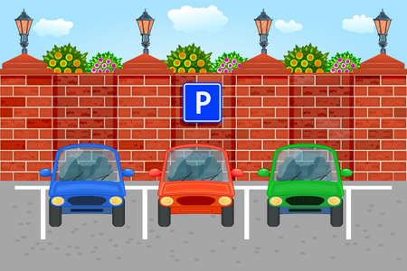 Parked cars in a parking zone. City parking lot on public park. Vehicle parking along city street with green trees, red brick fence and street light in cartoon style. Front view. Stock vector illustration
