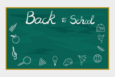 Green chalkboard isolated on white background. Back to school banner with copy space. Blackboardboard with icons elements. Back to school poster with doodles. Frame for school supplies sale. Stock vector illustration