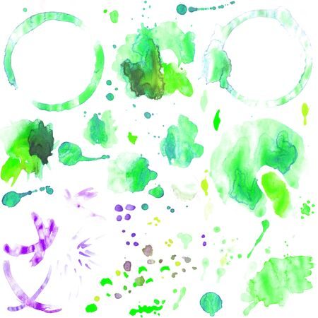 Set of green watercolor isolated image of circles of coffee and from tea closeup with blot and spray