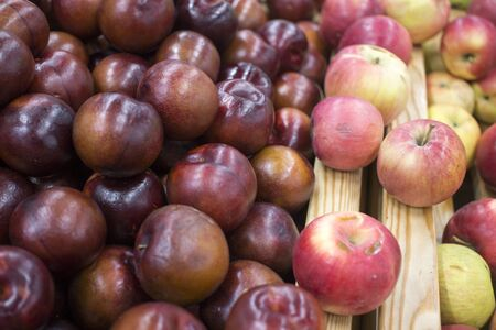 many red plum with apples closeup whole