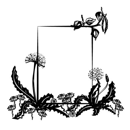 black Floral decorative a4 frame with dandelion and place for your text