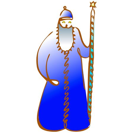 Russian Santa Claus or Father Frost . Vector hand draw illustration. Zdjęcie Seryjne