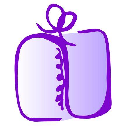 Illustration of sqare gift icon on white background