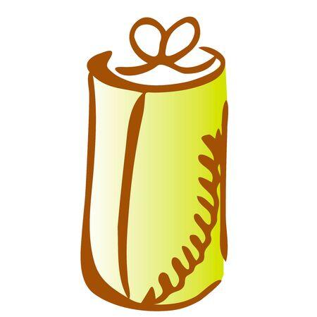 Illustration of cylinder gift icon on white background