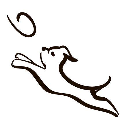 Cute dog head line art drawingvVector Illustration of Isolated Dog agility training Dog Jumping and Catching Disc. head line art drawing Silhouette on White Background.