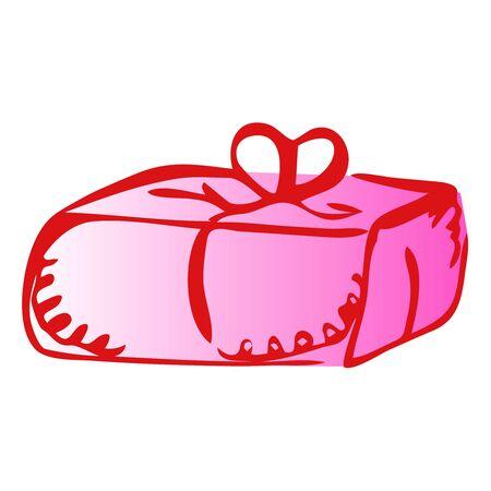 Illustration of brick gift icon on white background