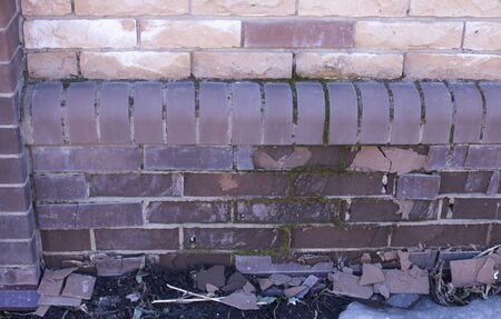 old brick wall with white and brown bricks background. vintage brick wall textur Zdjęcie Seryjne