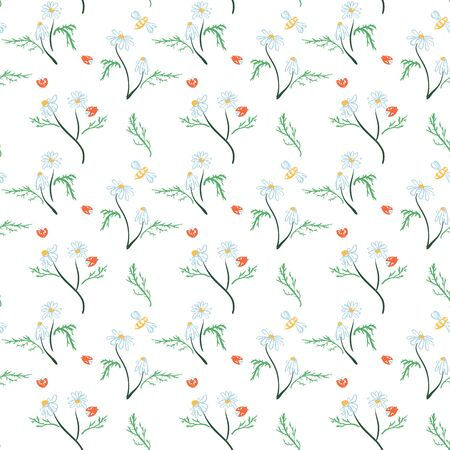 Seamless pattern with flowers, leaves, branches. Vector colorful endless floral background. The elegant illustration for fashion prints, fabric, scrapbook