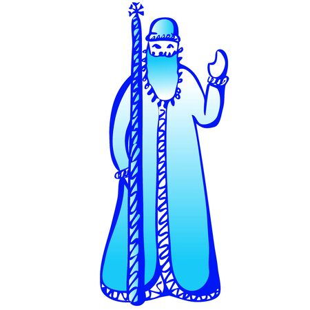 Russian Santa Claus or Father Frost . Vector hand draw illustration. Banco de Imagens