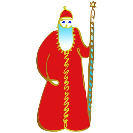 Russian Santa Claus or Father Frost . Vector hand draw illustration. Illustration