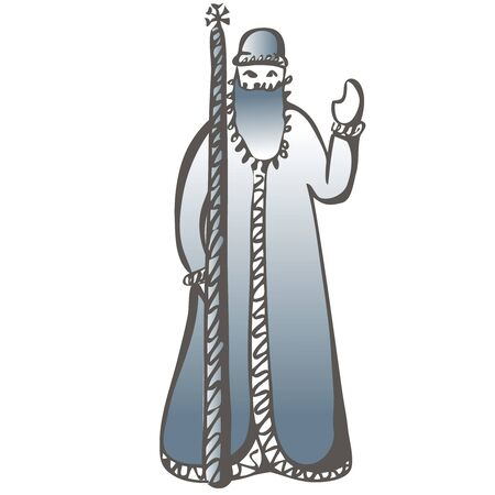 Russian Santa Claus or Father Frost . Vector hand draw illustration. Ilustracja