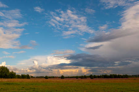 Landscape with dramatic sky and unripe wheat field at rainy summer season. Dirt road with dark storm clouds