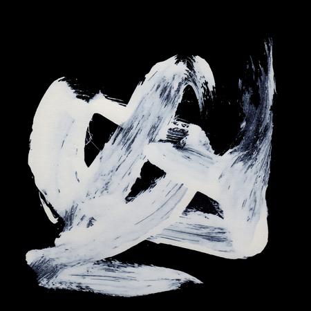 White brush strokes on black background zen style Stock Photo