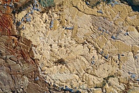 Oil Painting closeup texture background with brown yellow ochre blue  colors vivid colorful creative for interesting, creative, imaginative backgrounds