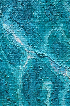 palette knife: Oil Painting closeup texture background with  blue turquoise, blue, white, colors, vivid, colorful creative for interesting textures Stock Photo
