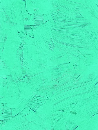 Painting close up of vivid turquoise light green color, paint brush strokes  texture for interesting, creative, imaginative backgrounds. For web and design.