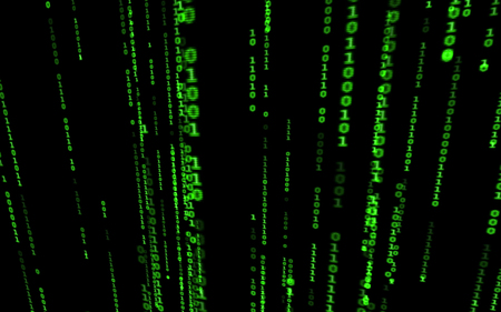 Binary code on black background. Background in a matrix style. Falling random numbers. Green digital code numbers.  Futuristic art texture for imagination, creativity and design. For print, web, banners, media, illustrations.