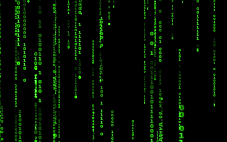 Binary code on black background. Background in a matrix style. Falling random numbers. Green digital code numbers.  Multicolored art texture for imagination, creativity and design. For print, web, banners, media, illustrations.