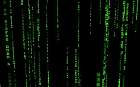 Binary code on black background. Background in a matrix style. Falling random numbers. Green digital code numbers.  Multicolored art background texture for imagination, creativity and design. For print, design, web, banners, media, illustrations.
