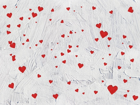 Hearts illustration on  brush strokes textured background. For valentines day, mothers day, wedding illustration. For creativity, imagination, greetings cards, posters.Oil  on canvas.